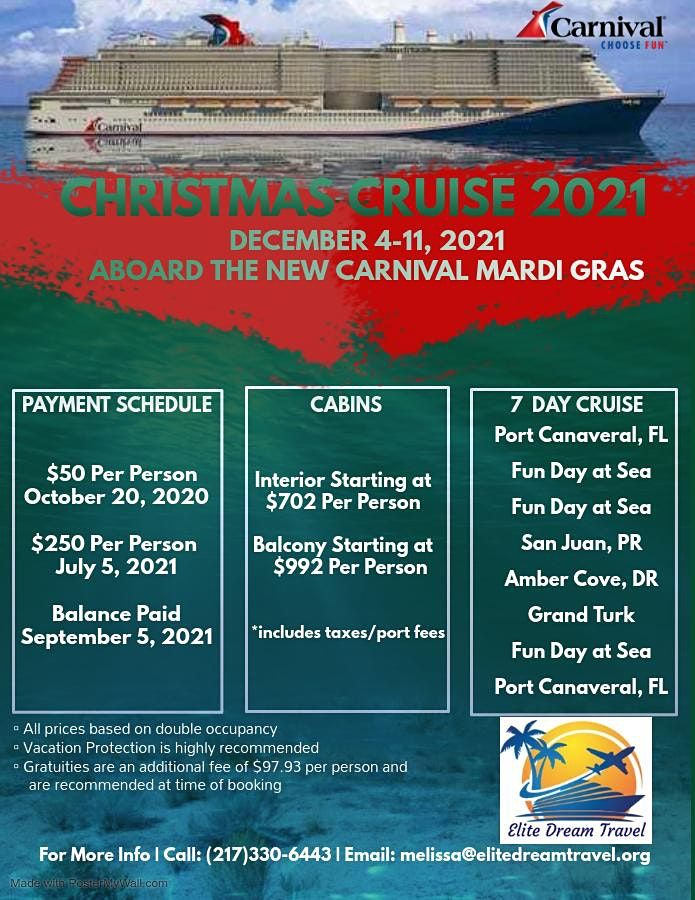 Cruise Christmas 2021 Mardi Gras Christmas Cruise 2021 Elite Dream Travel Decatur December 4 To December 11 Allevents In