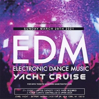 EDM NYC Sunset Yacht Party Cruise Skyport Marina Cabana Yacht 2021