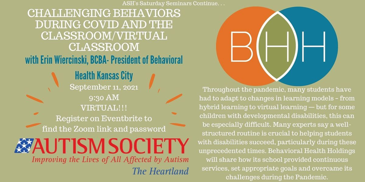 Saturday Seminar: Challenging Behaviors During COVID and the Classroom, 11 September | Online Event | AllEvents.in