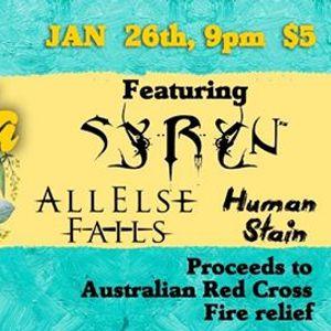 Australia Day Metal Fundraiser SYRYN ALL ELSE FAILS HUMAN STAIN