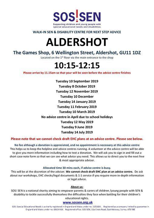Aldershot SEN & disability advice centre for next step advice