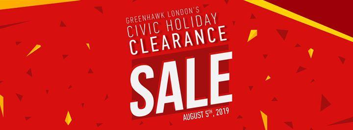 Greenhawk Londons Civic Holiday Clearance Sale at Greenhawk