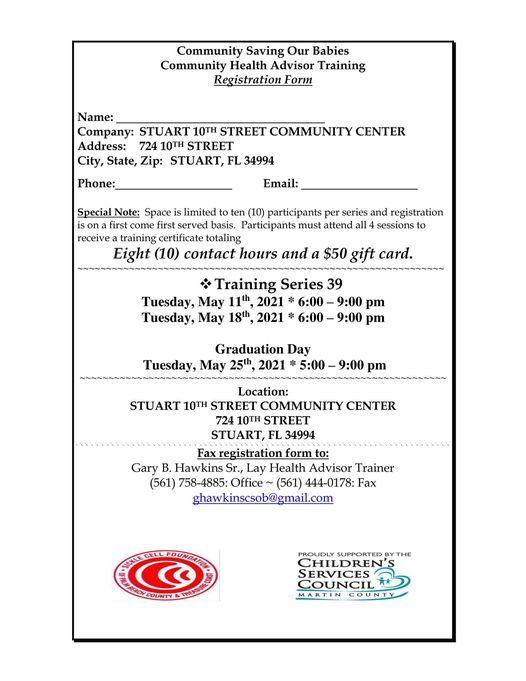 CSOB Community Health Advisor Training Series 39, 11 May | Event in Stuart | AllEvents.in