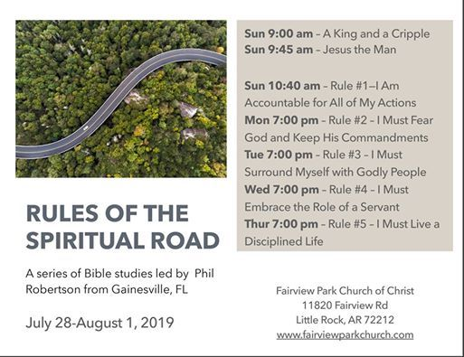 Rules of the Spiritual Road at Fairview Park Church of