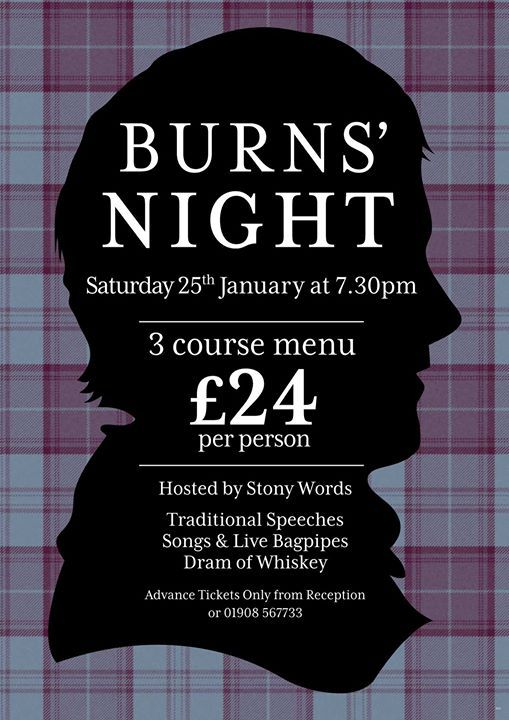 Burns Night, Saturday 25th January 2020 at The Cock Hotel