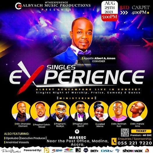 Singles Experience: Albert Amon Live In Concert., 29 August   Event in Accra   AllEvents.in