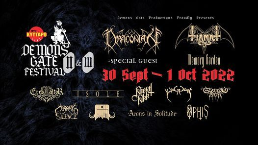 Demons Gate Festival- Tiamat/Draconian/Memory Garden/Isole +more, 30 September | Event in Athens | AllEvents.in