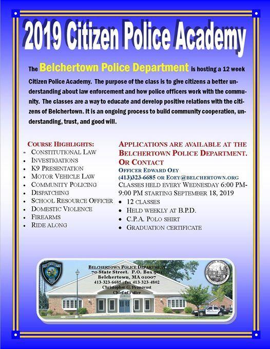 Citizen Police Academy at Belchertown Police Department