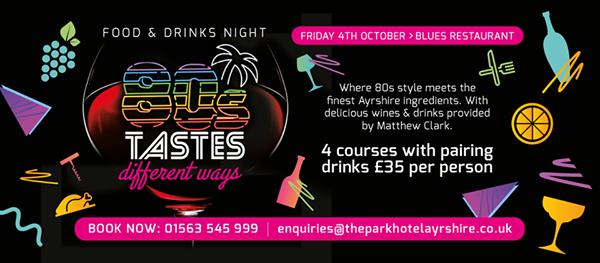 80s Tastes Food & Drinks Night! at Blues Restaurant, Kilmarnock