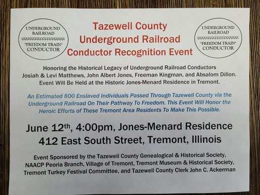 Christmas Break 2021 Tazewell County Tazewell County Underground Railroad Conductor Recognition 412 E South St Tremont Il 61568 7938 United States June 12 2021 Allevents In