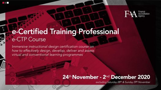 e-Certified Training Professional (e-CTP), 24 November | Online Event | AllEvents.in