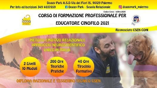 Corso per Educatore Cinofilo 2021 riconosciuto Csen e Coni, 19 June   Event in Palermo   AllEvents.in