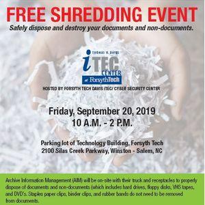 Free Shredding Event at Forsyth Tech, Winston Salem