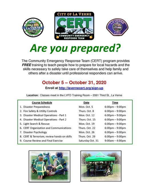 CERT Training--Sign up now