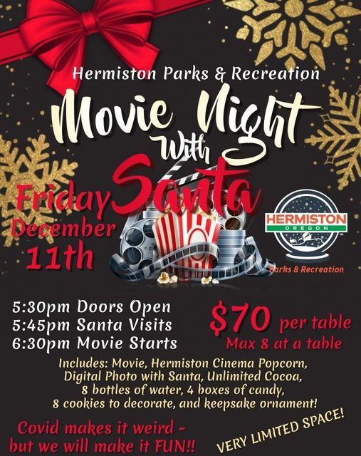 Movie Night With Santa Hermiston Parks Recreation 11 December 2020 Cinema 🎬 on map of hermiston: all events in city