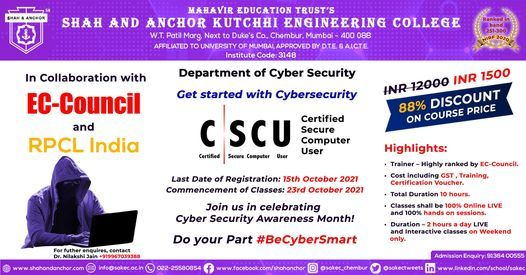 Become EC Council Certified Secure Computer User (CSCU) with 88% Discount, 23 October | Online Event | AllEvents.in
