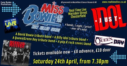 Music event for cancer charities. 4 live bands at Real Time Live, 24 April | Event in Chesterfield | AllEvents.in