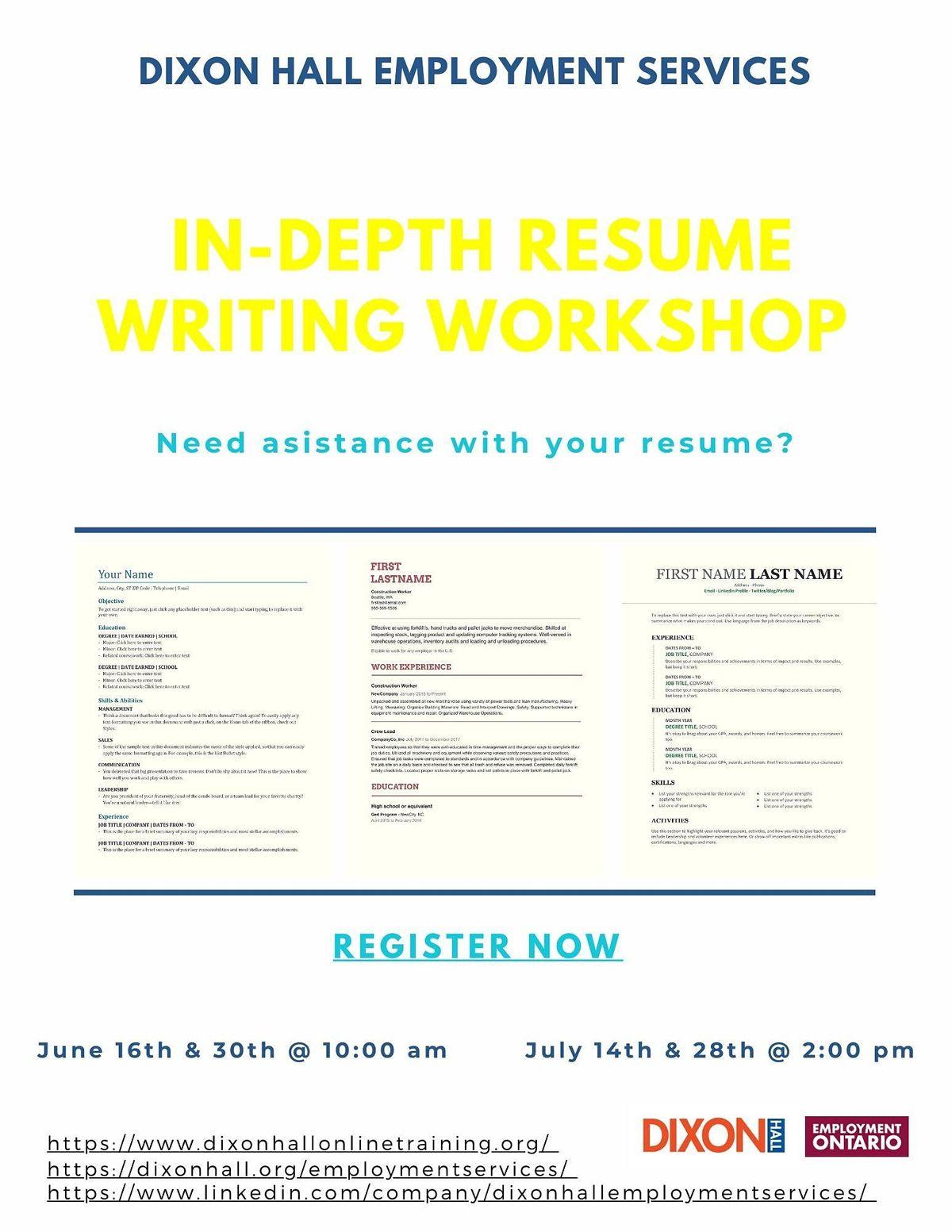 In Depth Resume Writing Workshop Dixon Hall At Online Online