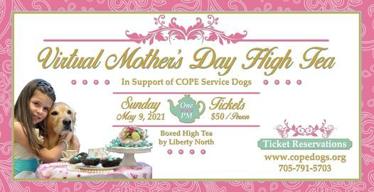 COPE Service Dogs Virtual Mother's Day High Tea, 9 May | Event in Keswick | AllEvents.in