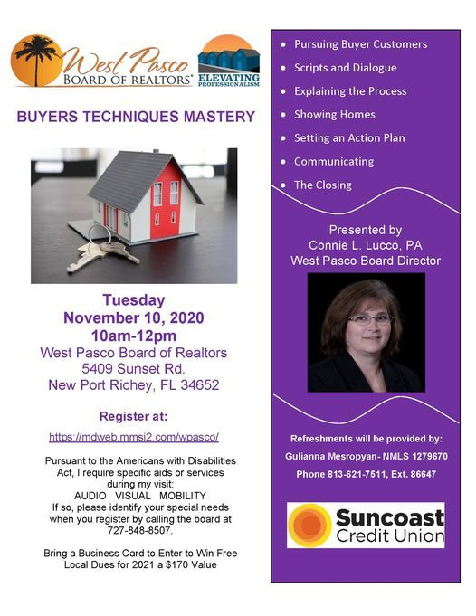 Buyers Techniques Mastery, 10 November | Event in New Port Richey | AllEvents.in