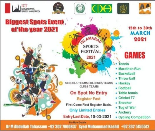Islamabad Sports Festival 2021, 15 March   Event in Islamabad   AllEvents.in