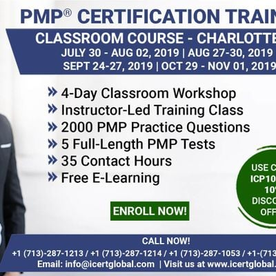 PMP Certification Training Course in Charlotte NC USA  4-Day PMP Boot Camp with PMI Membership Included.