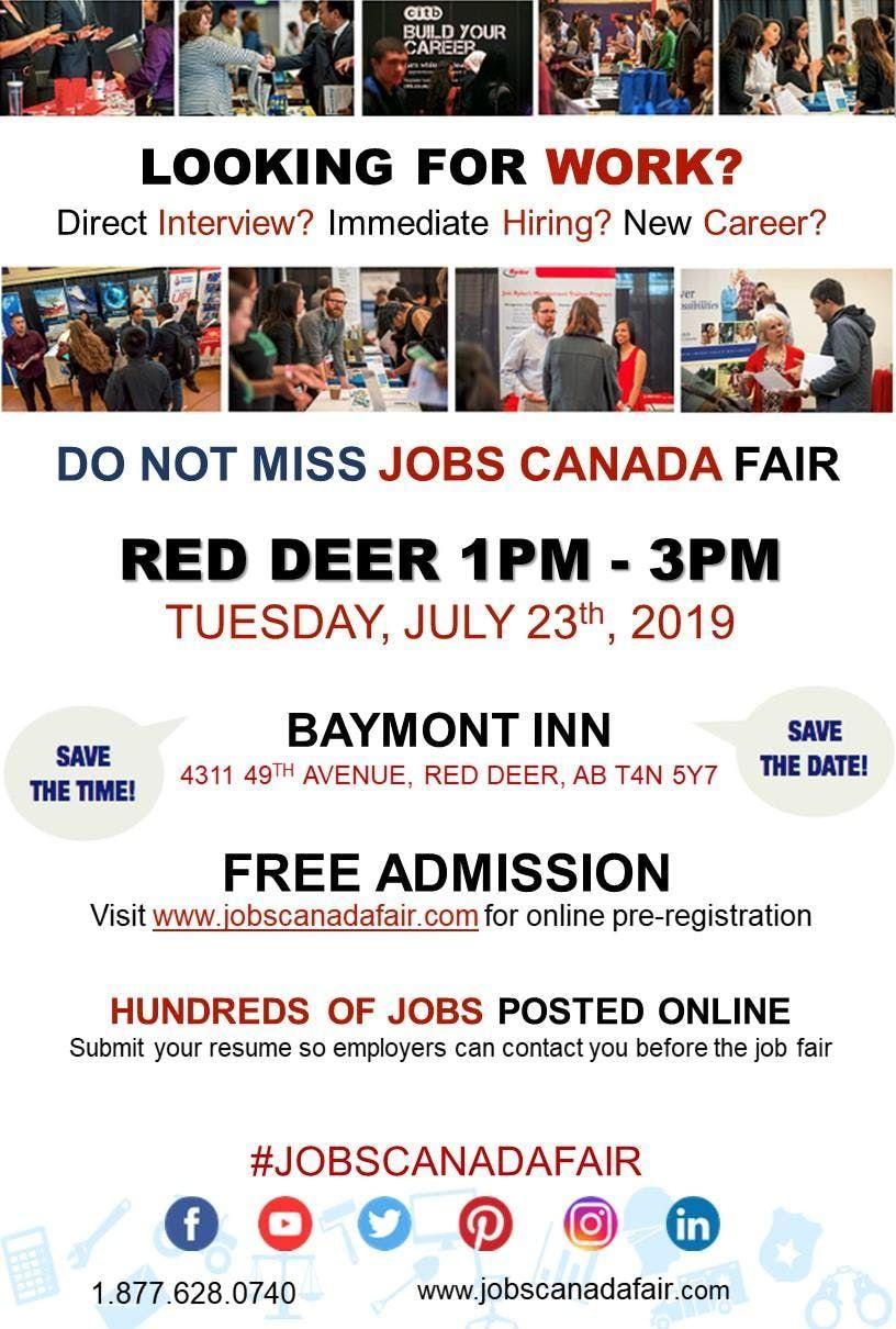 FREE Red Deer Job Fair  July 23rd 2019