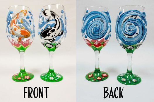 Colorful Koi Wine Glass Painting Set! Virtual or In Studio! | Online Event | AllEvents.in