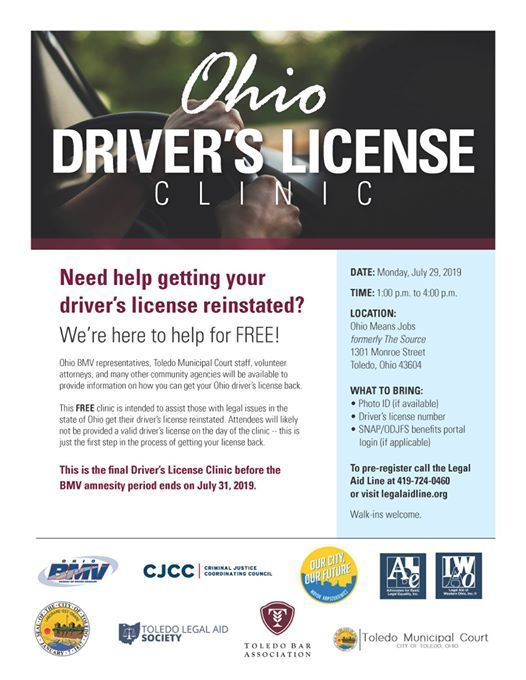 Ohio Drivers License Clinic at OhioMeansJobs Lucas County