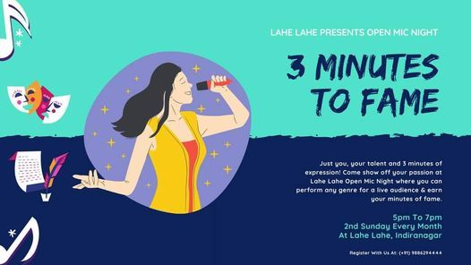 3 Minutes to Fame at Lahe Lahe, 14 March   Event in Bangalore   AllEvents.in