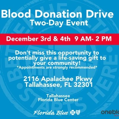 Tallahassee Blood Donation Drive (Two-Day Event)