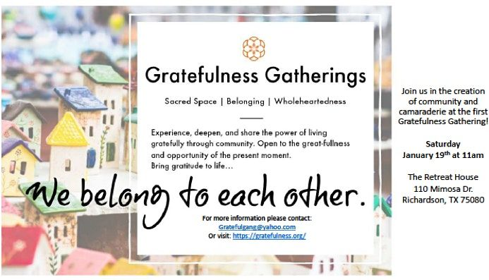 ONLINE Gratefulness Gathering - First Saturdays at 11 am via ZOOM Meeting | Online Event | AllEvents.in