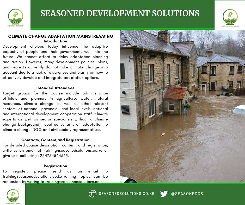 Climate Change Adaptation Mainstreaming into Development   Event in Nairobi   AllEvents.in