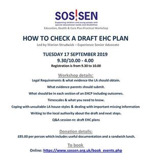 Workshop - How to check a draft EHC plan led by Marion Strudwick