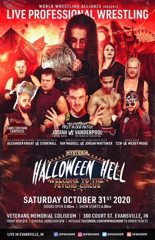 Evansville Halloween Events 2020 W.W.A. Hysteria: HALLOWEEN HELL 2020!, Veterans Memorial Coliseum