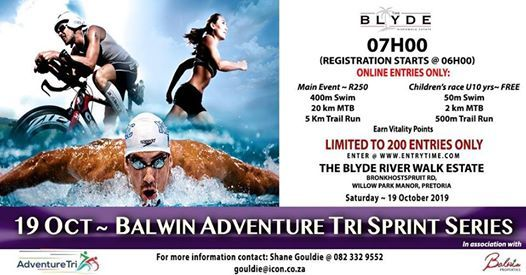 Balwin Adventure TRI Sprint Series 400M SWIM  20KM MTB 5KM RUn