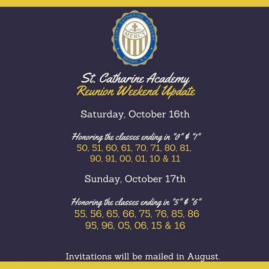 """Reunion for Classes ending in """"0"""", """"5"""", """"1"""" & """"6"""", 16 October"""