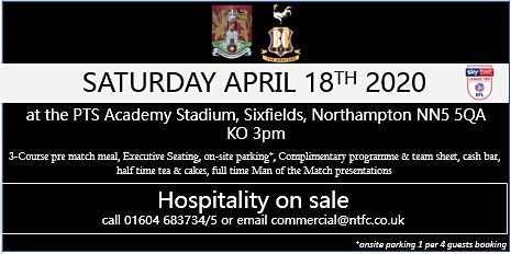 Events In North Hampton In April 2020.Bradford City Hospitality At Northampton Town Football Club