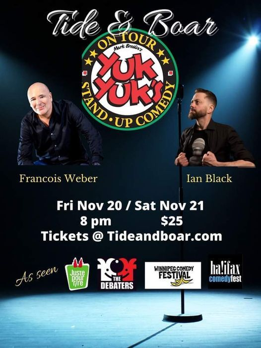Yuk Yuks Stand-up Comedy Tour Jan 22 and 23 at the  Tide and Boar Ballroom, 22 January | Event in Moncton