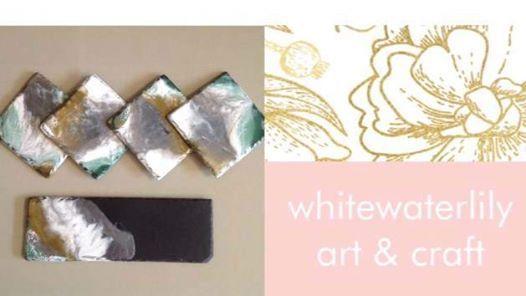 imadeitmyself  -  Resin slate platters  with White Waterlilly