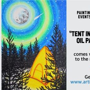 Tent in The Wilderness - Oil Pastel Drawing Paint Night on Zoom