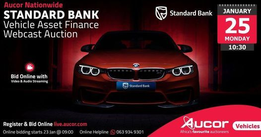 Standard Bank Vehicle Asset Finance Webcast Auction- Aucor Bloemfontein, 25 January | Online Event | AllEvents.in