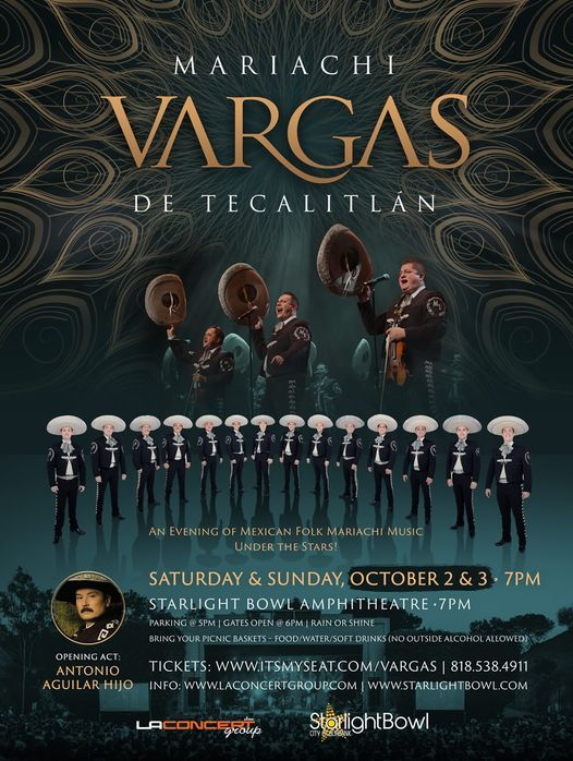 Mariachi Vargas De Tecalitlan & Antonio Aguilar hijo, 2 October | Event in Burbank | AllEvents.in
