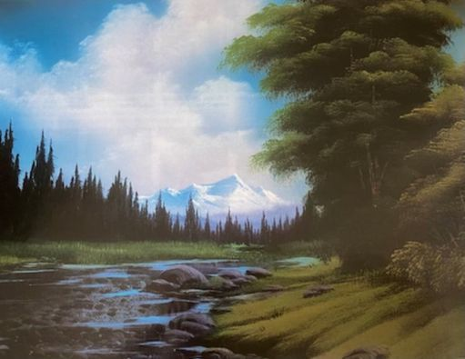 """Bob Ross """"Downstream View"""" Paint & Sip, 8 May   Event in Reynoldsburg   AllEvents.in"""
