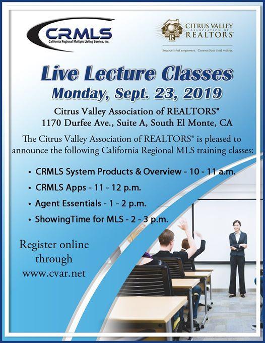 CRMLS Training - CVAR WEST at Citrus Valley Association of
