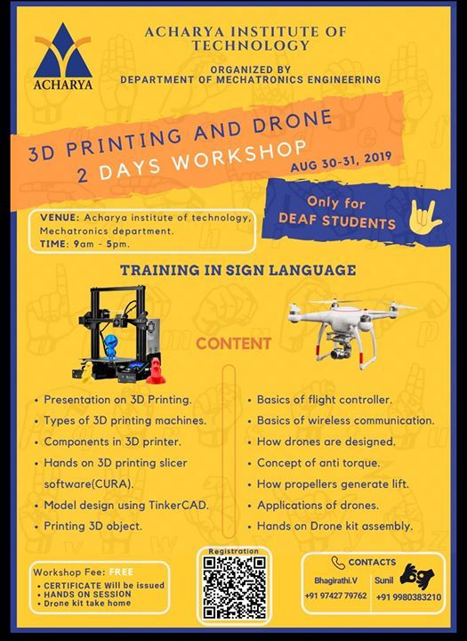 3D Printing and Drone Workshop For The Deaf at Acharya