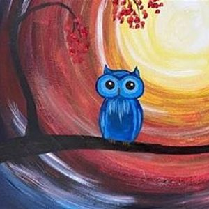 Paint night in Downtown Gaslamp District - Owl in the Moonlight