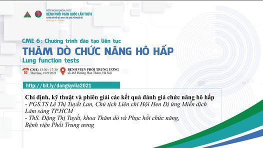 CME 6 - Thăm dò chức năng hô hấp, 10 September   Event in Hanoi   AllEvents.in