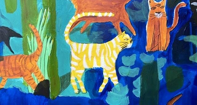 PAINTING FOR KIDS: Cats and Jungle, 18 August | Online Event | AllEvents.in