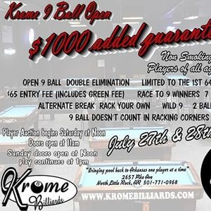 1000 added Krome 9 Ball Open